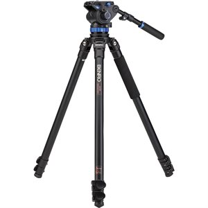 A373F Series 3 AL Video Tripod & S7 Head - 75mm Half Ball Adapter, 3 Leg Sections, Flip Lock Leg Rel