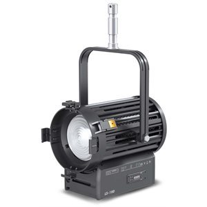 FILMGEAR LIGHTING 150W FRESNEL LED, DAYLIGHT, 4-LEAF BARNDOOR, +130MM FRESNEL LENS, & STIRRUP WITH +28MM SPIGOT