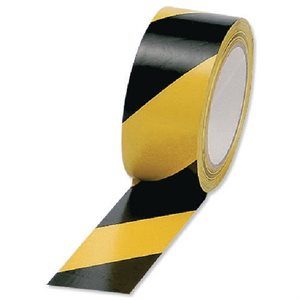 WARNING TAPE YEL / BLK ADHEASIVE 50MMX25M