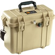 PELICAN # 1430 CASE WITH PHOTO DIVIDERS AND LID ORGANISER - DESERT TAN